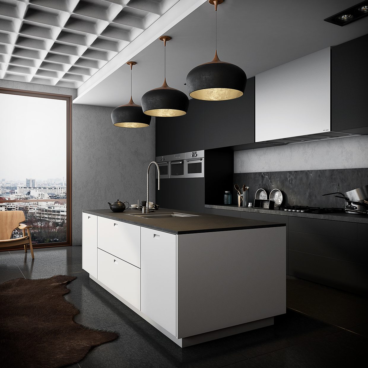 black kitchen with white island