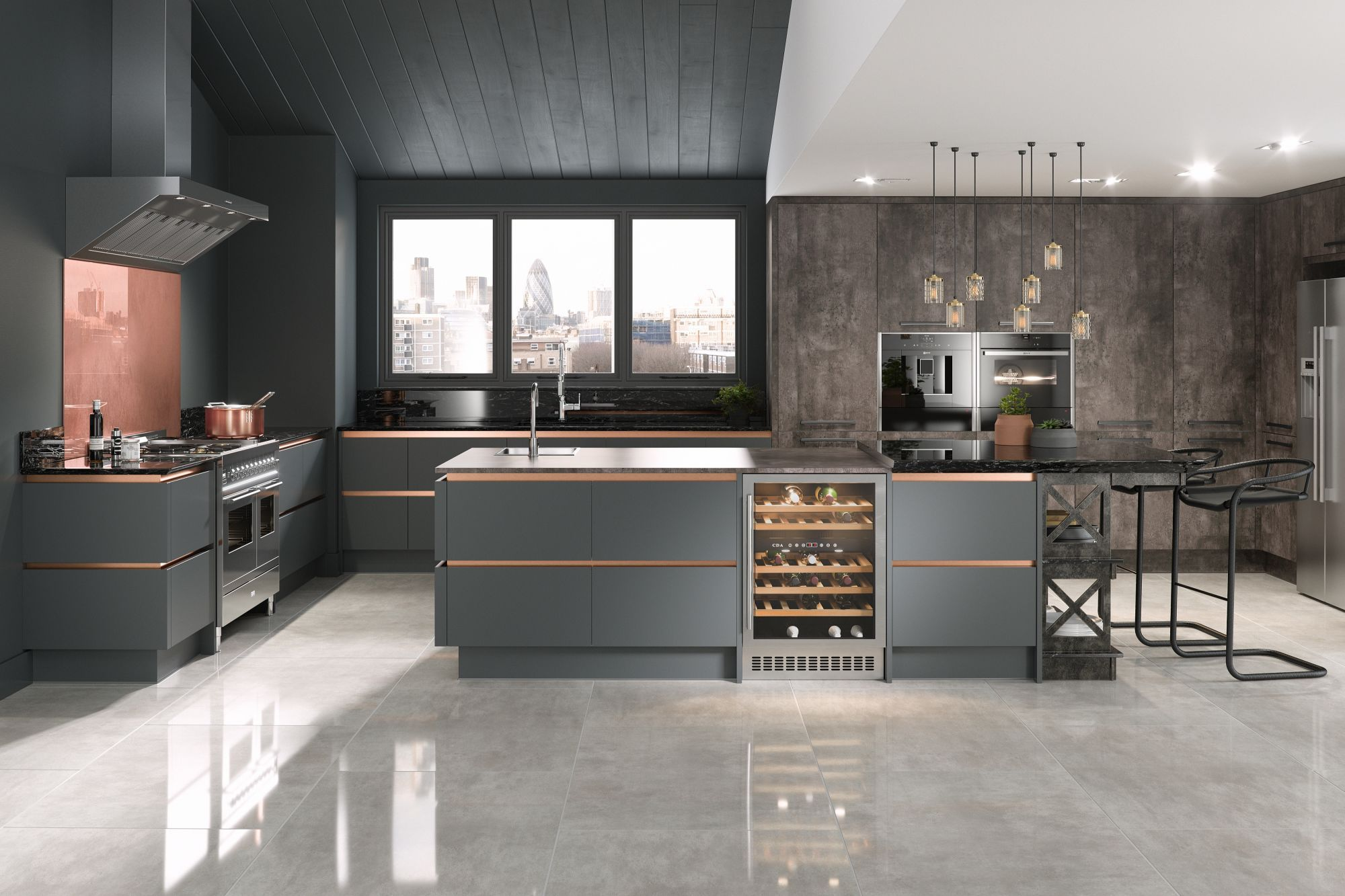kitchen with grey floors
