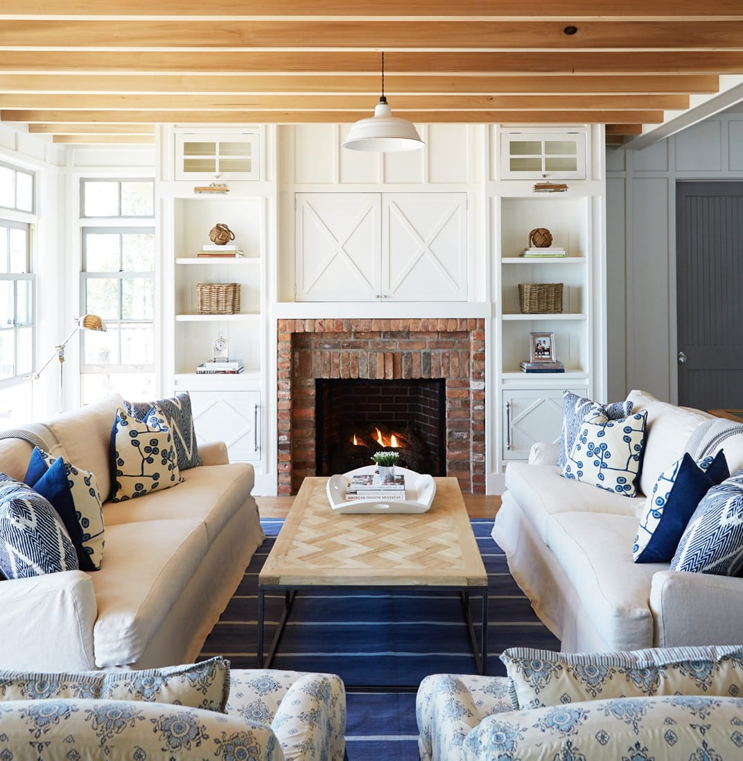 fireplace in a rustic living room