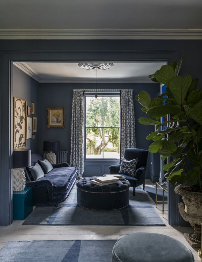 Dark Living Room with Patterned and Pillow