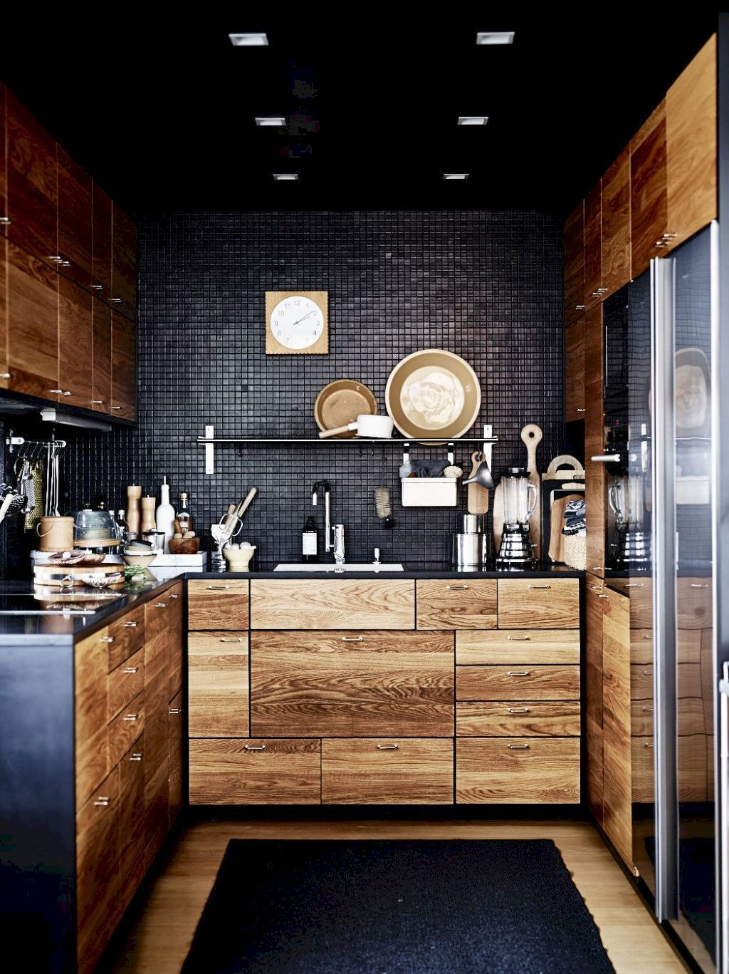 kitchen with charcoal black backsplash