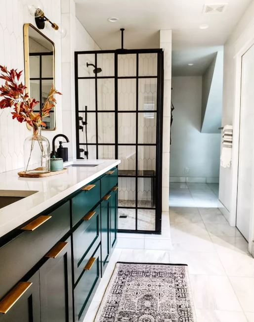 Bathroom with Emerald Green Cabinet