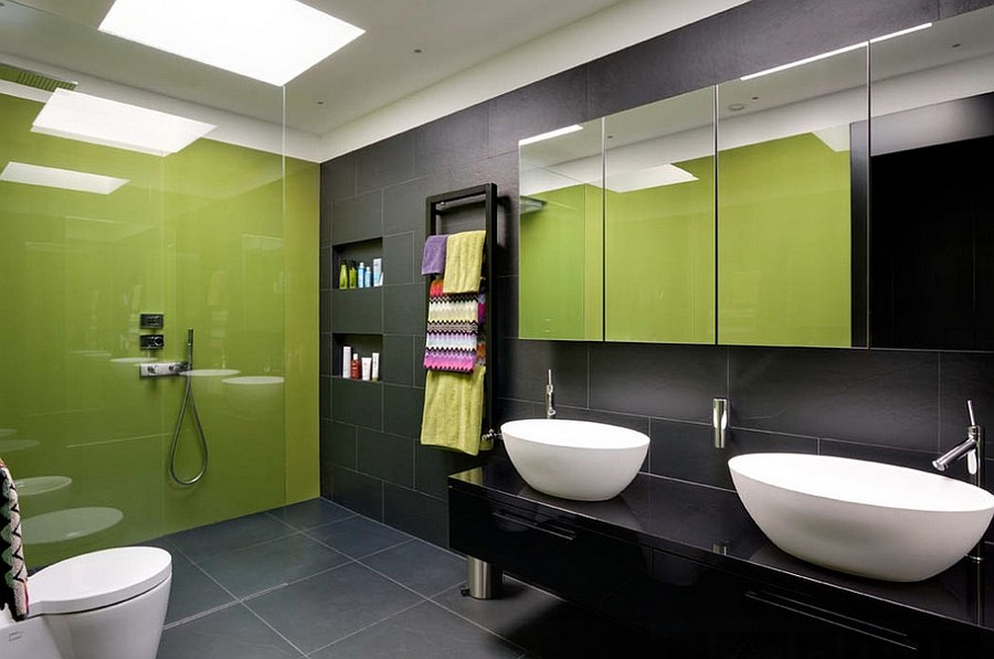 Bathroom with Black Wall and Floor
