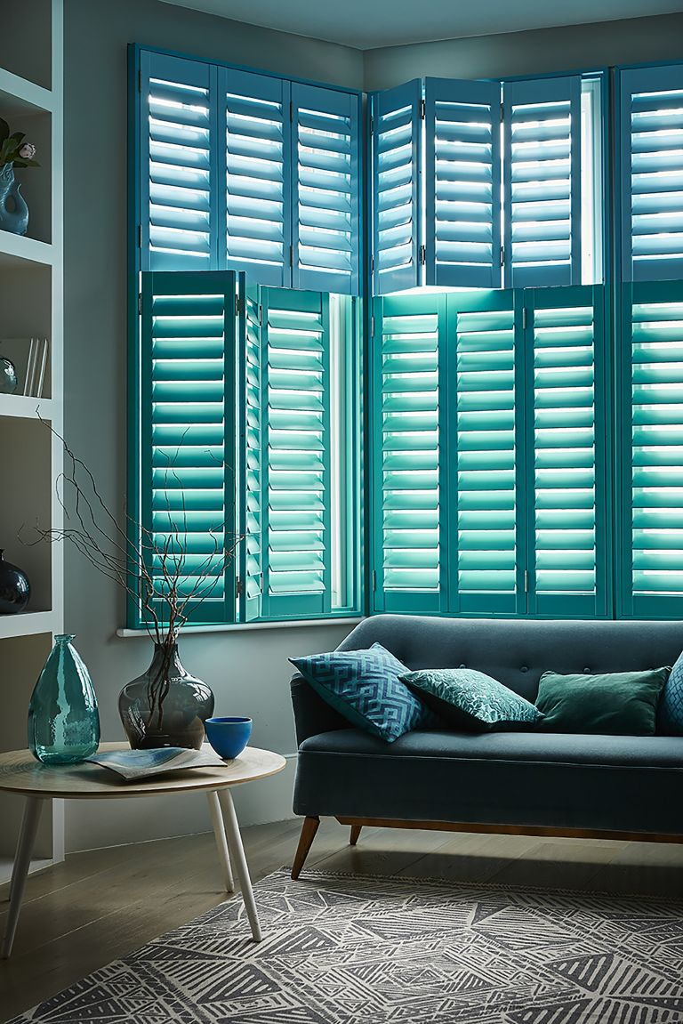Living Room with Blue Shutters