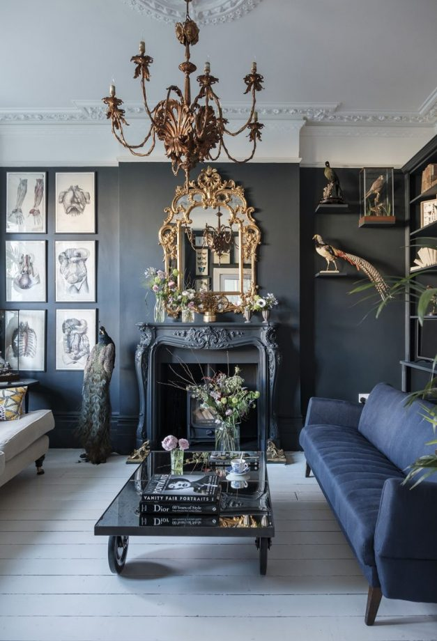 Dark Living Room with navy-blue