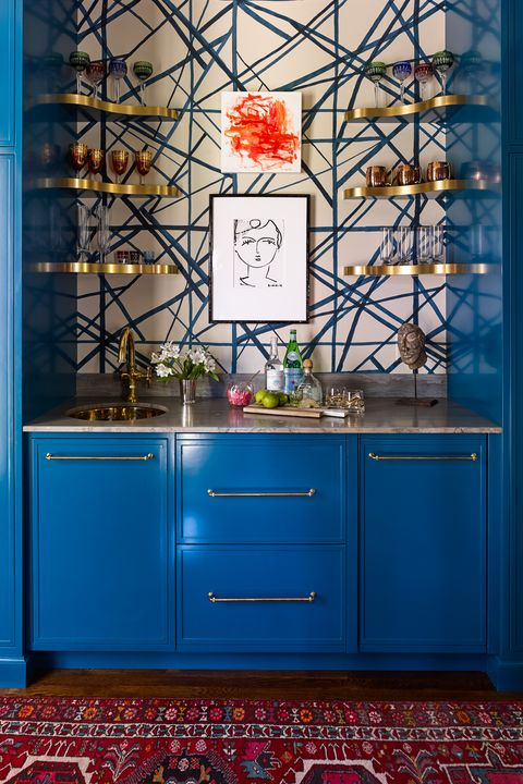 bar with classic blue cabinet