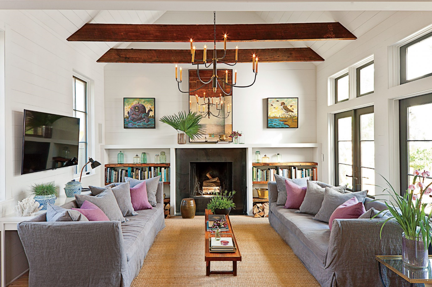 living room with fireplace at one end