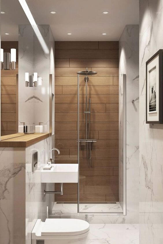 Bathroom in Brown and White