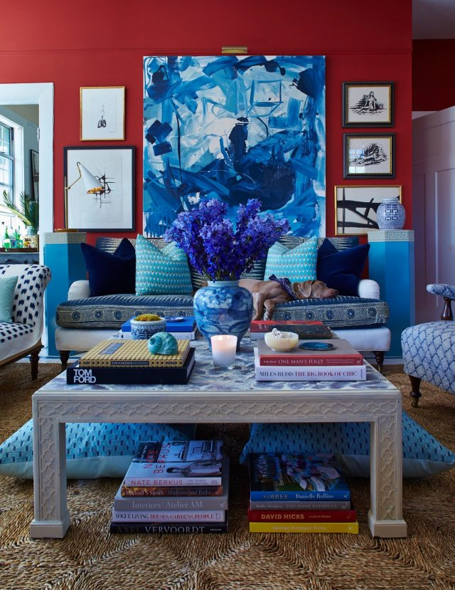 teal-styled living room