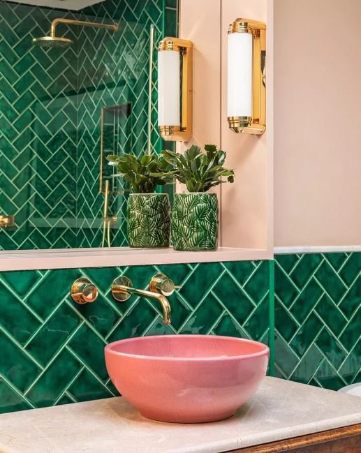 Bathroom with Chevron-Laid Tiles
