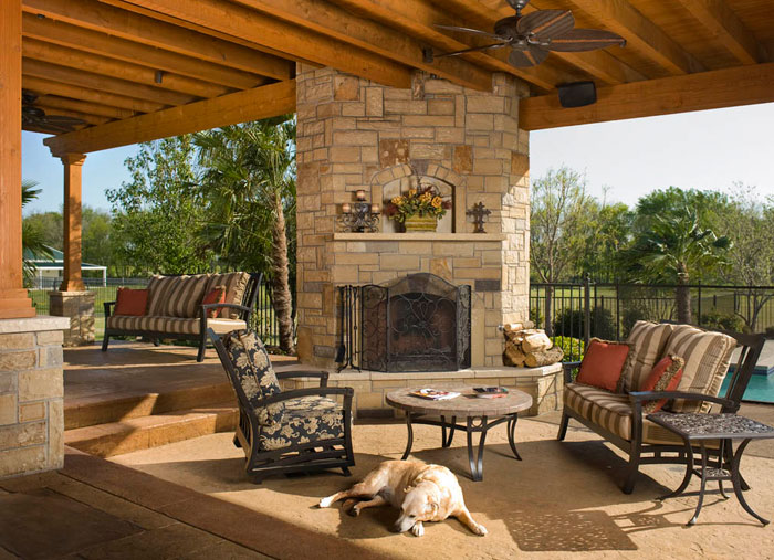 fireplace for an elegant outdoor living room