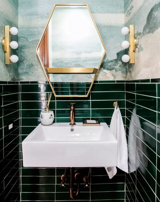 Bathroom with Dark Green Tiles