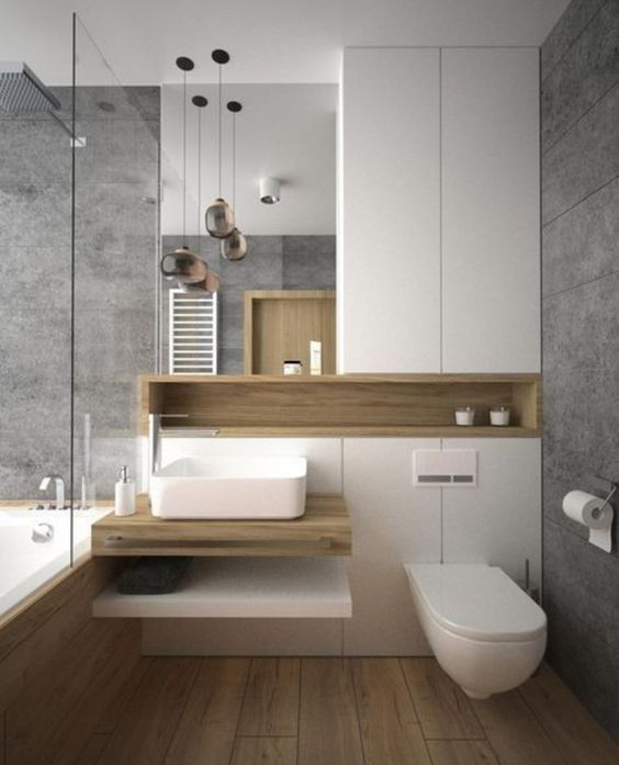 Bathroom in White and Brown