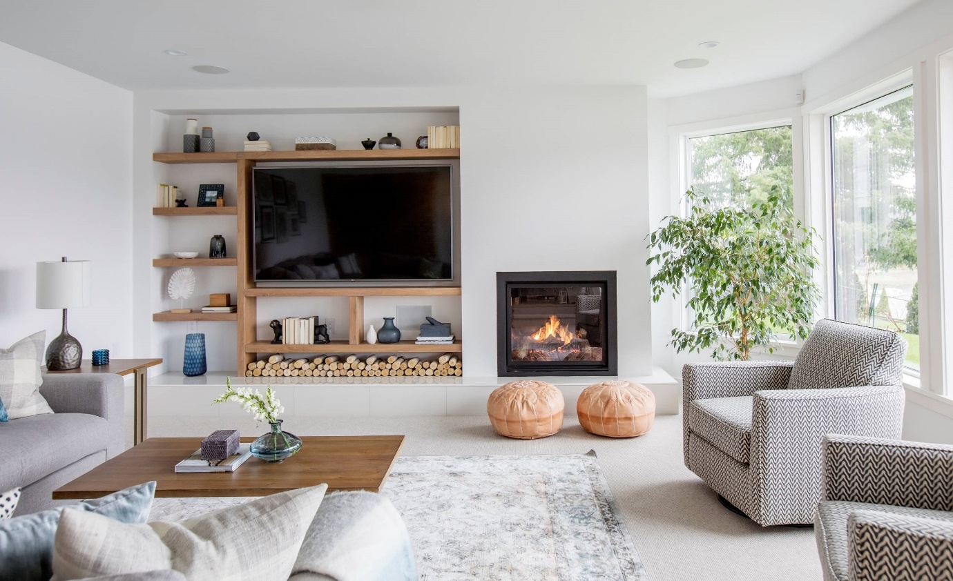 mounted fireplace and TV