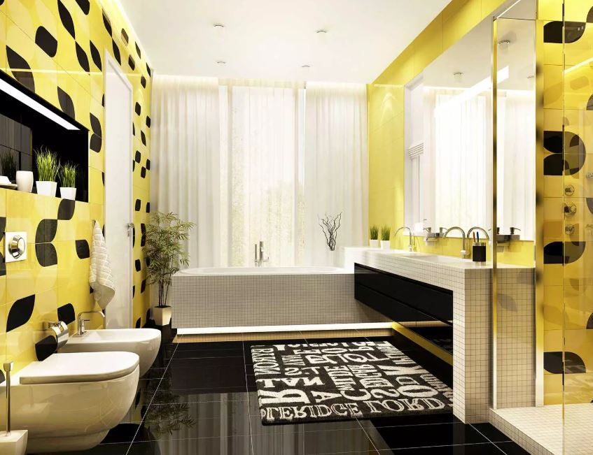 Bathroom in Yellow and Black