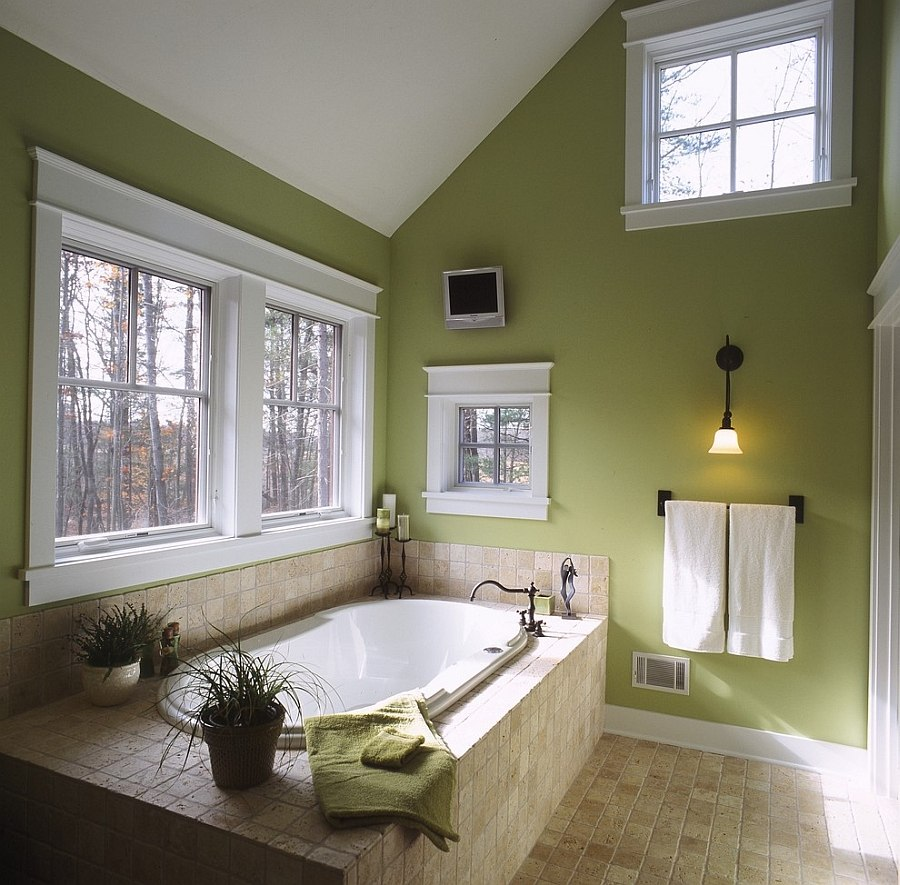 Bathroom with Olive Green Wall