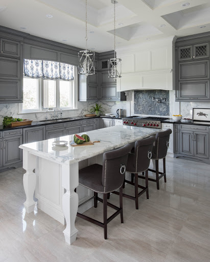kitchen cabinets with white island