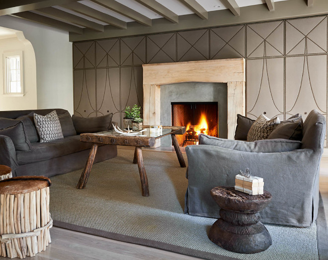 living room with transitional-rustic look