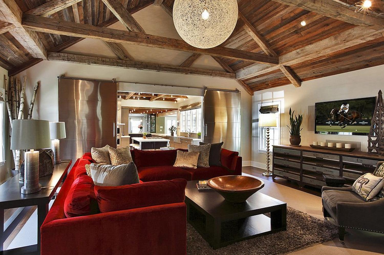 Red barn style living room