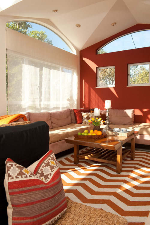 Red and brown for living room
